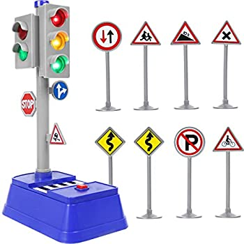 Kiddie Play Traffic Signs and Crosswalk Light Signal Toys for Kids  12pcs