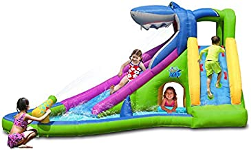 Action air Inflatable Water Slide, Bounce House with Slide for Dry and Wet, Shark Waterslide for Outdoor Summer Fun, Great Gift for Children (AM0417)