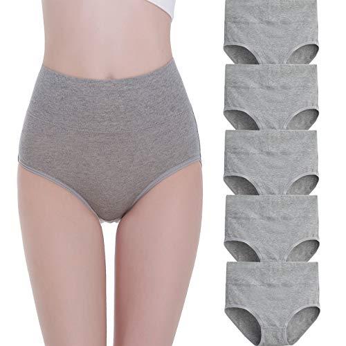 FALARY Unterhosen Damen Baumwolle Hohe Taille 5er Pack M Grau