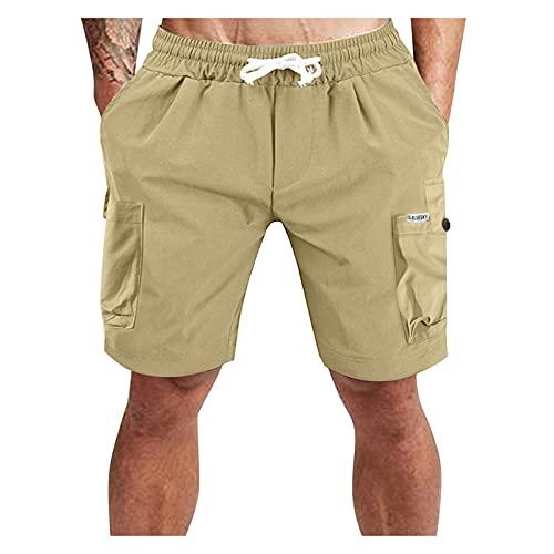 IZH Cargo-Shorts für Herren Leichte Herren Outdoor Casual Elastische Taille Leichte Wasserabweisende Schnelle Trockene Cargo Angeln Wandershorts Workout Jogginghose (Khaki, XXXL)