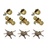 Grip Tight Tools ED02-3 Set of 3 Door Knob & Deadbolt Gold Combo Entry Lock Set Door Knob and Single Cylinder Deadbolt Alike: KW1 Keyway with 18 Keys Included