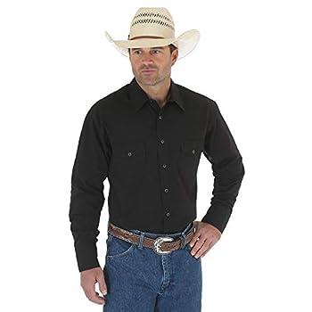 Wrangler Mens Sport Western Basic Two Pocket Long Sleeve Snap Shirt Black X-Large