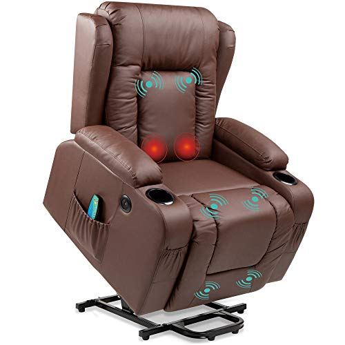 Best Choice Products Electric Power Lift Recliner Massage Chair, Adjustable Furniture for Back, Lumbar, Legs w/ 3 Positions, USB Port, Heat, Cupholders, Easy-to-Reach Side Button - Brown