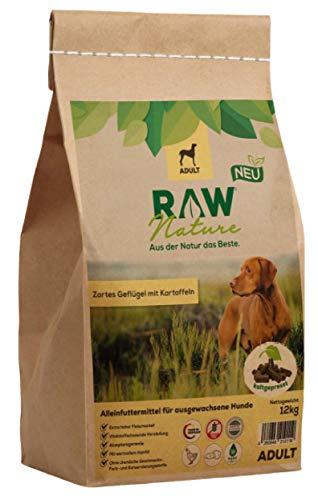 RAW Nature Trockenfutter Adult | Natürlich Kaltgepresst | Getreidefreies Hundefutter | Vollwertkost | Muskelfleisch | hoher Fleischanteil | ohne künstliche Zusätze | für ausgewachsene Hunde (12 kg)