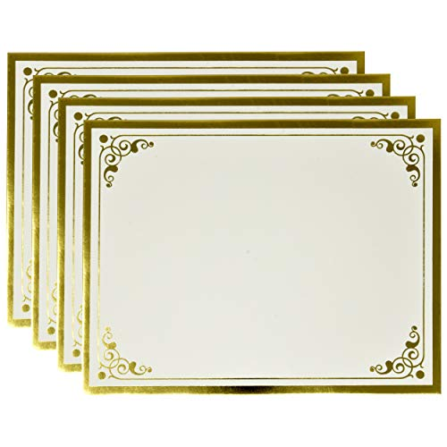 "Gold Award Certificate Papers 60 Count Blank Plain Card Stock Golden Foil Border Stationary Computer Paper for High School Kindergarten Graduation Marriage Diplomas 8.5"" x 11"" Laser & Inkjet Printer"