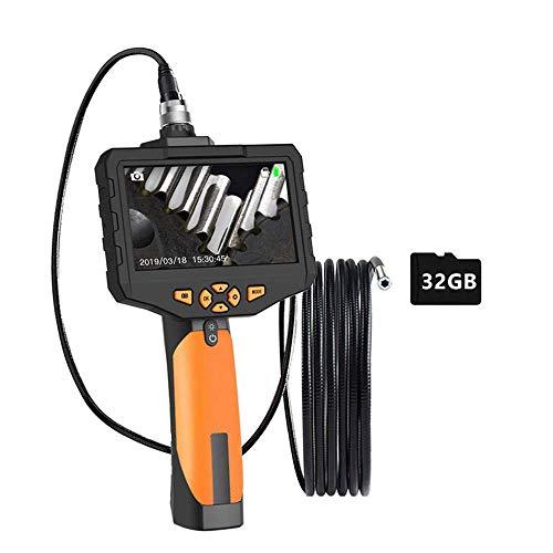 Endoscopio Industrial 5m Full HD 1080P,  Cámara De Inspección Con Tarjetas MicroSD 32GB,  Pantalla LCD A Color De 4.5 Pulgadas,  USB Recargable,  Impermeable IPX67,  6 Luces LED,  Para Reparar, 7.6mm+1m
