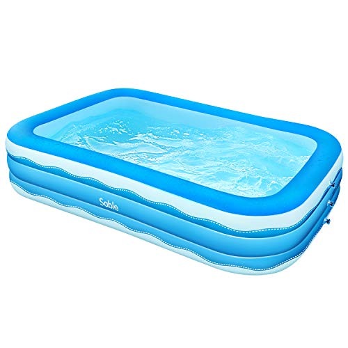 Sable SA-HF071 Inflatable Pool, Paddling Swimming Pool for Toddlers, Kids, Adults and Family, Above Ground, Backyard, Outdoor Blue, 118 x 72 x 22in