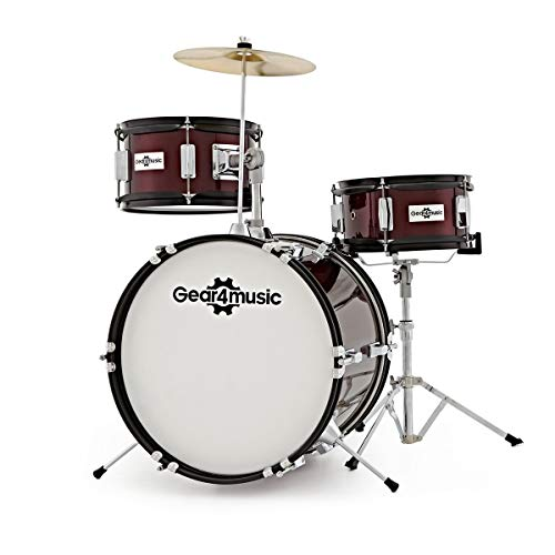 2. Junior 3 Piece Drum Kit by Gear4music Wine Red