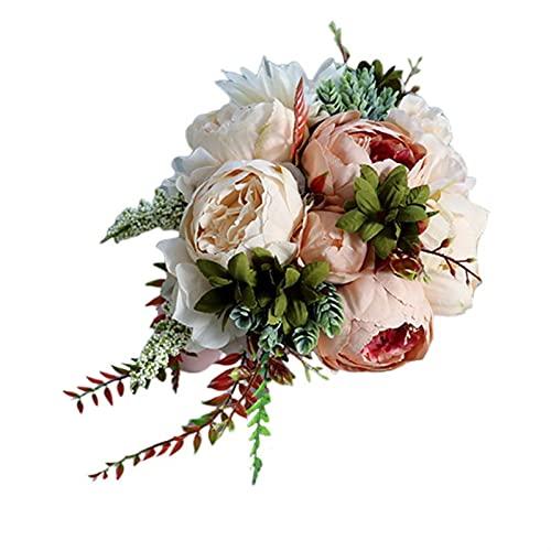 TOPHUHAI Romantico Bridal Bridal Damigella d'Onore Bouquet da Sposa Cascata Fiore Artificiale Fiore Falso Succulente Ribbon Long Retro Decorazione del Partito di Lusso (Colore : 2)