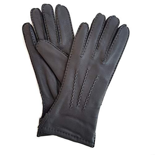 Lederhandschuhe aus reinem Hirschleder im klassischen Schnitt, Handgenäht, Fleecefutter, schwarz, Größe: 6,5