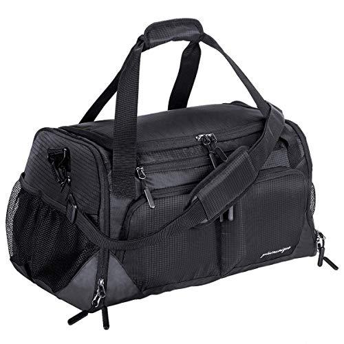 "Gym Bag, Sports Travel Duffel Bag with Shoes Compartment & Wet Pocket & Water Resistance Pouch, Men Women, 31L (17""), Black"