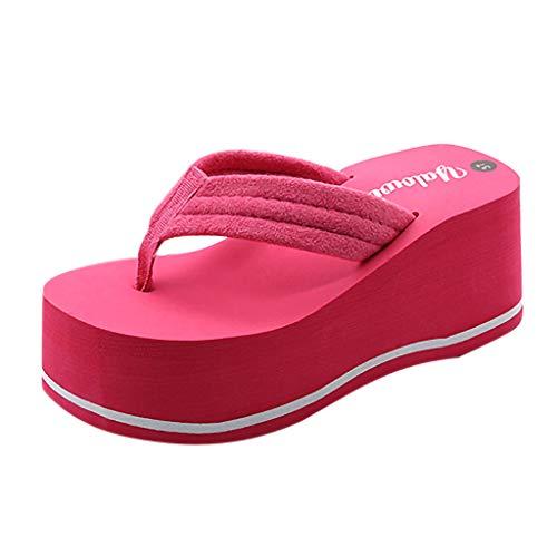 Damen Zehentrenner Sommer Keilabsatz Plateau Zehenstegsandalen mit Label, Frauen Flip Flops Bequeme Strandpantolette Sandalen Celucke (Pink, EU39)