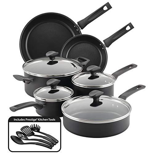 Farberware Advantage Nonstick Cookware Pots and Pans Set, 14 Piece, Black
