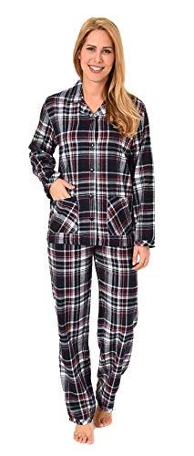 Damen Flanell Pyjama Schlafanzug kariert –- auch in Übergrössen - 281 201 95 247, Farbe:dunkelgrau, Größe2:44/46