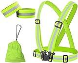 MuiSci Reflective Gear, Running Vest with 360° High Visibility, Safety Reflective Running Vest with Adjustable Elastic Belt for Men, Women, Runners, Night Walkers, Bikers, Jogging, Cycling, Walking