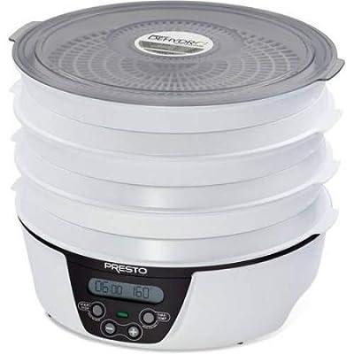 Presto Dehydro Electric Food Dehydrator, 6 trays, white and black