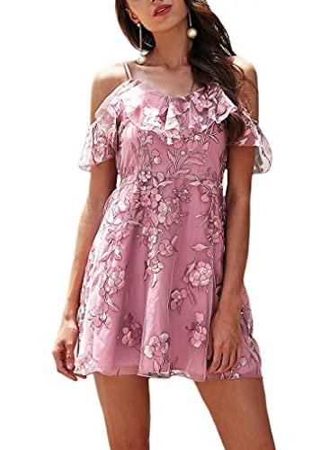 UN-BRAND Vestidos cortos de tul para mujer, vestidos de noche, vestidos de baile, vestido de cóctel, mini vestidos de fiesta con volantes, Morado (, X-Large