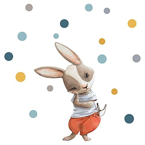 Little Deco DL209-19 - Adhesivo decorativo para pared de habitación infantil, diseño de lunares de conejo, materiales ecológicos, para habitación de juegos o habitación de niños