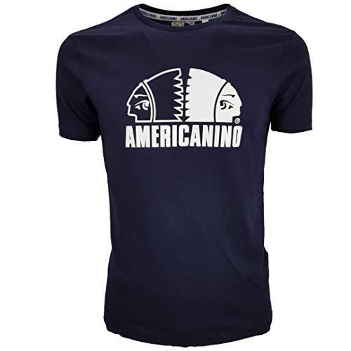 Americanino Camiseta de hombre de algodón de manga corta blanca y negra XL XXL turquesa M