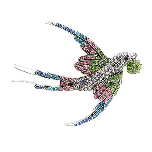 LNSTORE Broche de Trago de Diamantes de imitación Colorido, 5,5 cm * 7.0cm, Adecuado para Mujeres, Hermosos y vívidos Broche de Aves, Elegante y con Estilo