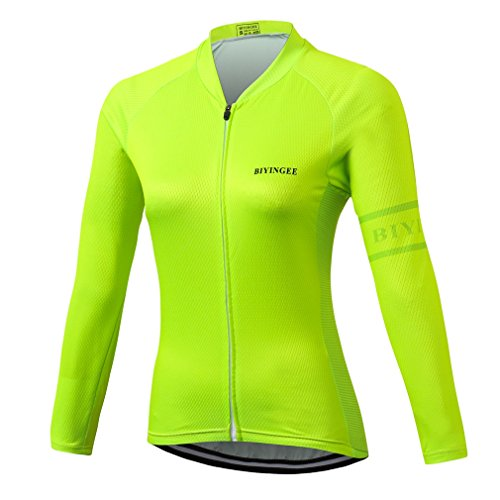 BIYINGEE Women's Cycling Jersey Long Sleeve with Reflective Stripe Fluorescence Green Size L(CN)