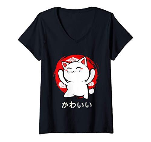 Womens Chat japonais Kawaii Amoureux des animaux Chaton Adorable T-Shirt avec Col en V