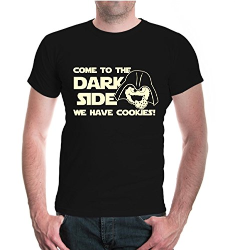 T-Shirt Come to The Dark Side, we Have Cookies-XXL-Black-Beige