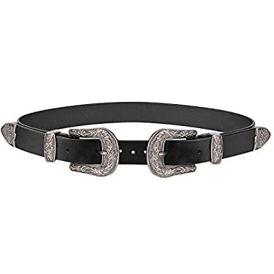 "Ladies Western Cowhide Leather Belt Women Vintage Dresses with Double Metal Silver Buckles Fashion Designer Belt Fits 35""-39"" Waist Size Gift Box Black"