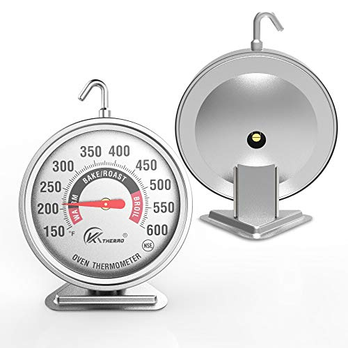 "Large 3"" dial oven thermometer - KT THERMO (2018 New Design) NSF-approved accurately easy-to-read extra large dial clearly display shows marked temperatures for Professional and Home Kitchens Cooking"