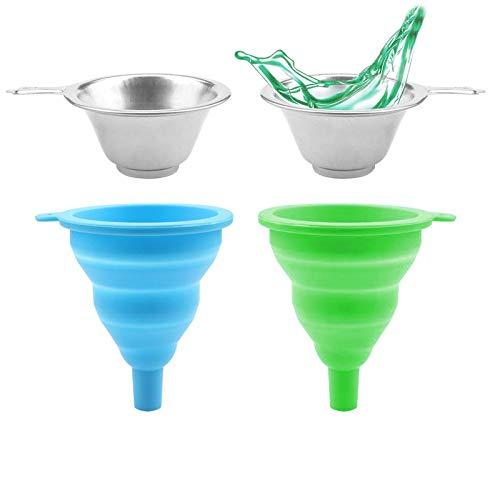 4 Piezas Silicona De Embudo Plegable 3D Filtro De Resina Fotosensible Flexible Fácil De Limpiar, para Impresora 3D, Familia, Empresa, Imprenta, Taller De Reparación De Automóviles Etc—Azul + Verde