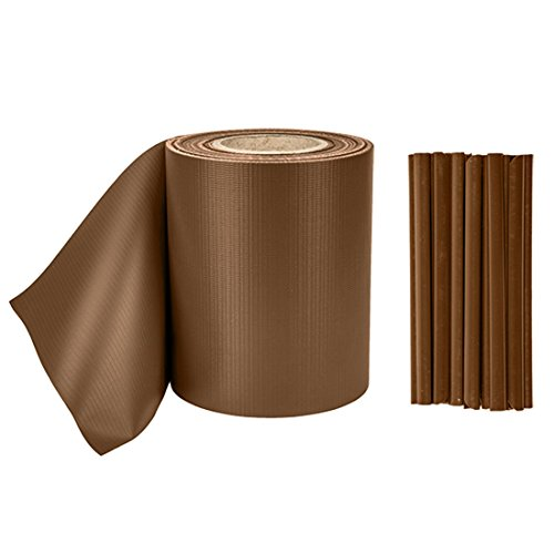 PVC hekwerende folie 19 cm x 35 m hek privacy film privacy strips 20 clips 0,59 m bruin