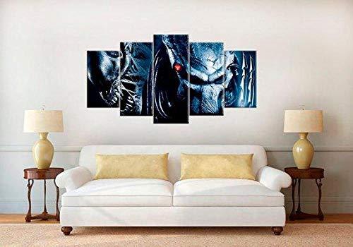 JIEJIEDE Cuadros Modernos Impresión de Imagen Artística Digitalizada Lienzo Decorativo para Tu Salón o Dormitorio 5 Piezas Cuadros Decoracion dormitorios(Marco) Película Alien Vs Predator(150x80CM)