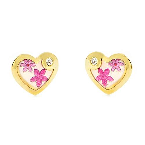 Pendientes Oro Niña corazón esmalte colores circón (9kts)