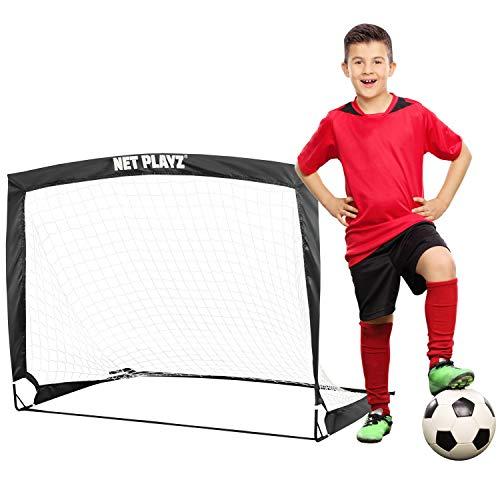 NET PLAYZ 4ftx3ft Easy Fold-Up Portable Training Soccer Goal, Black (NOS27440)