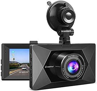 Crosstour Dash Cam CR350 - Mini 1080P FHD Car Camera -170 Wide Angle with Park Mode - 3 Inch LCD Screen - G-sensor - WDR -...