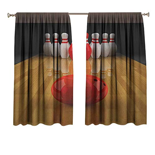 Bowling Party Soundproof Curtains Alley with Red Skittle in Center Target Score Winning Competition Noise Reducing Thermal Insulated Window Drapery 42x63 Inch