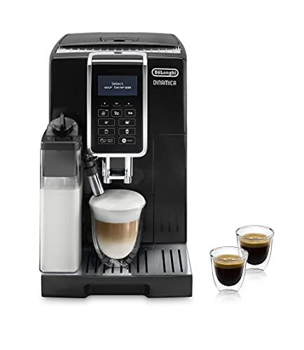 De'longhi Dinamica Ecam350.55.B - Cafetera superautomática, 1450w, función cappuccino, personalización variedad de bebidas, panel de control intuitivo con pantalla lcd y botones táctiles, negro