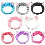 8pcs Cat Ears Headbands - Elastic Women 's Lovely Etti Hair Band, Spa Shower cara lavado Hairband Facial diadema Maquillaje Wrap Head Band lavable tela colorida adapta a todos los tamaños de cabeza