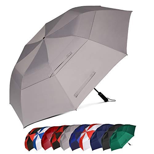 Eono by Amazon - 147cm Automatische Öffnen Golf Schirme Golf Umbrellas Foldable Golf Regenschirm, Extra große Golfschirme, Winddicht wasserdichte Stock Regenschirme, Grau