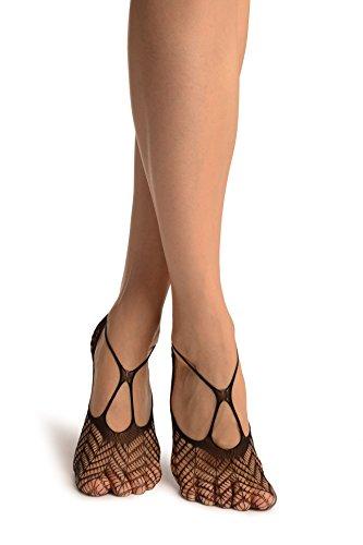 Black Crochet Lace With Straps Footies - Schwarz Socken, Einheitsgroesse (37-42)
