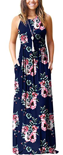GRECERELLE Women's Casual Loose Long Dress Sleeveless Floral Print Maxi Dresses with Pockets Navy Blue-M
