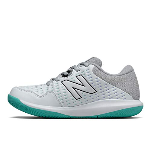 New Balance Women's 696 V4 Hard Court Tennis Shoe, White/Grey/Tidepool, 6.5 X-Wide