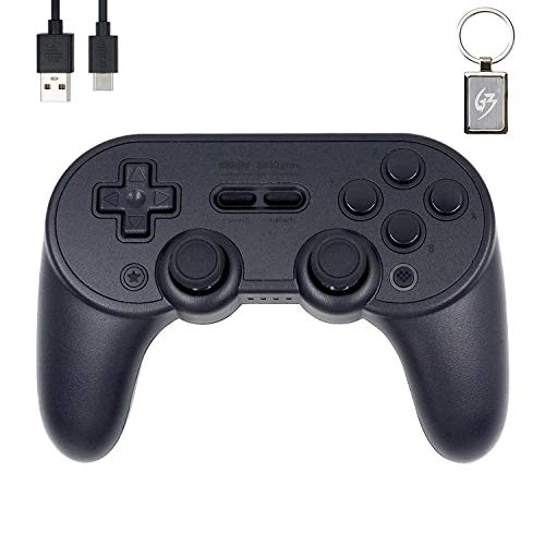 Mcbazel 8bitdo SN30 Pro+ (Black Edition) - Mando de mando inalámbrico Bluetooth para interruptor N/Windows/Raspberry Pi - con llavero