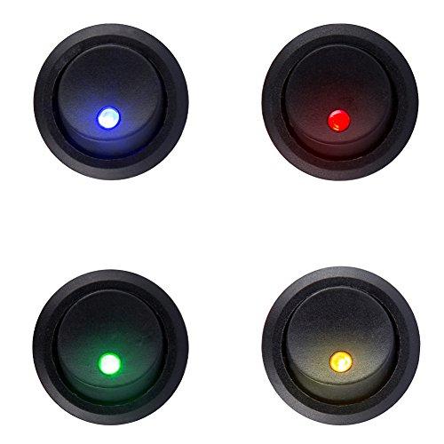 HOTSYSTEM DC 12V 20A Auto Runder Schalter Wippschalter Ein-Ausschalter mit LED Anzeige Wechsel Switch Kippenschalter für Auto Boot(1 Rot+1 Grün+1 Gelb+1 Blau)