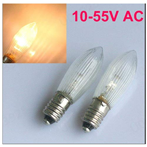 E10 LED Leuchtmittel mit Kerzenform / 10V-55V AC, 0.1-0.2W / Topkerze für Lichterkette 3300k warmweiß / 10er-Pack [Energieklasse A+] [Energieklasse A+] (Warmweiß)