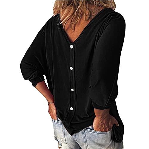 Cocila Damen V Ausschnitt Langarm T-Shirt Blusen, Mode Tasten Tunika Tops Casual Lose Pullover Sweatshirt Oberteile, Elegant Shirts Bluse Frühherbst