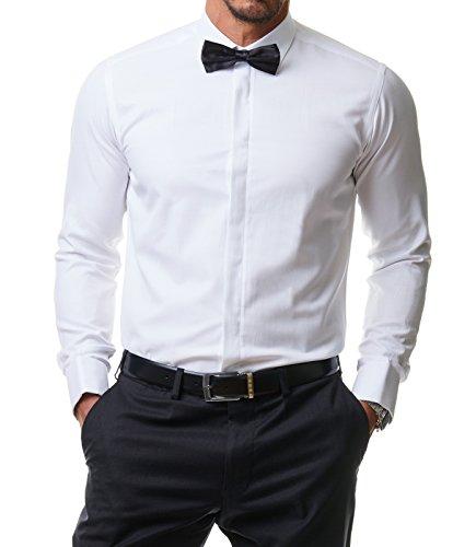Herren Hemd Smoking Anzug Klassik Business Langarm Fliege Manschettenknöpfe Bügelleicht Hochzeit Premium Slim Fit Shirt PR6615, Größe:S, Farbe:Weiß