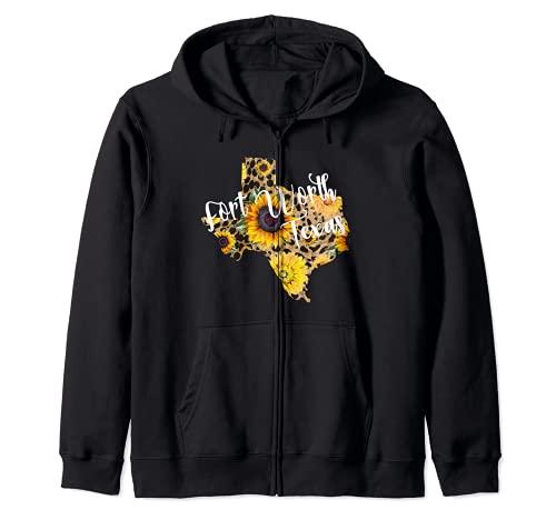 Fort Worth Texas - Regalo de girasol para vacaciones Sudadera con Capucha