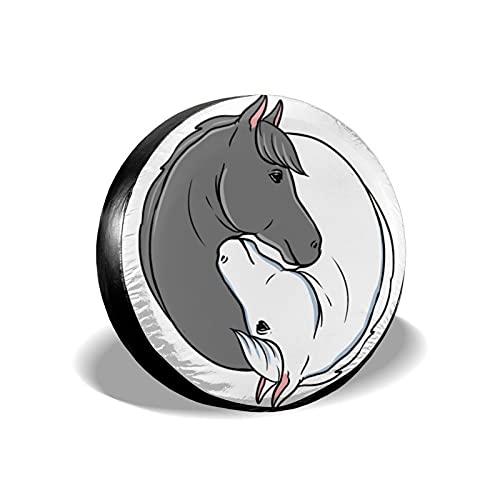 mengmeng Yin Yang Cabezas de caballo para amantes de los caballos, fundas de rueda de repuesto universal para neumáticos de repuesto para remolque, RV, SUV y varios vehículos accesorios 14 pulgadas