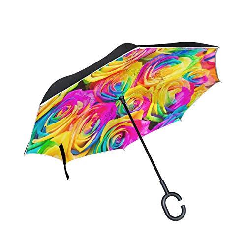 rodde Netto Windproof Reverse Double Layer Inverted Regenschirme für Outdoor-Regen Schöner Blumenstrauß aus bunten Rosen mit C-förmigem Griff